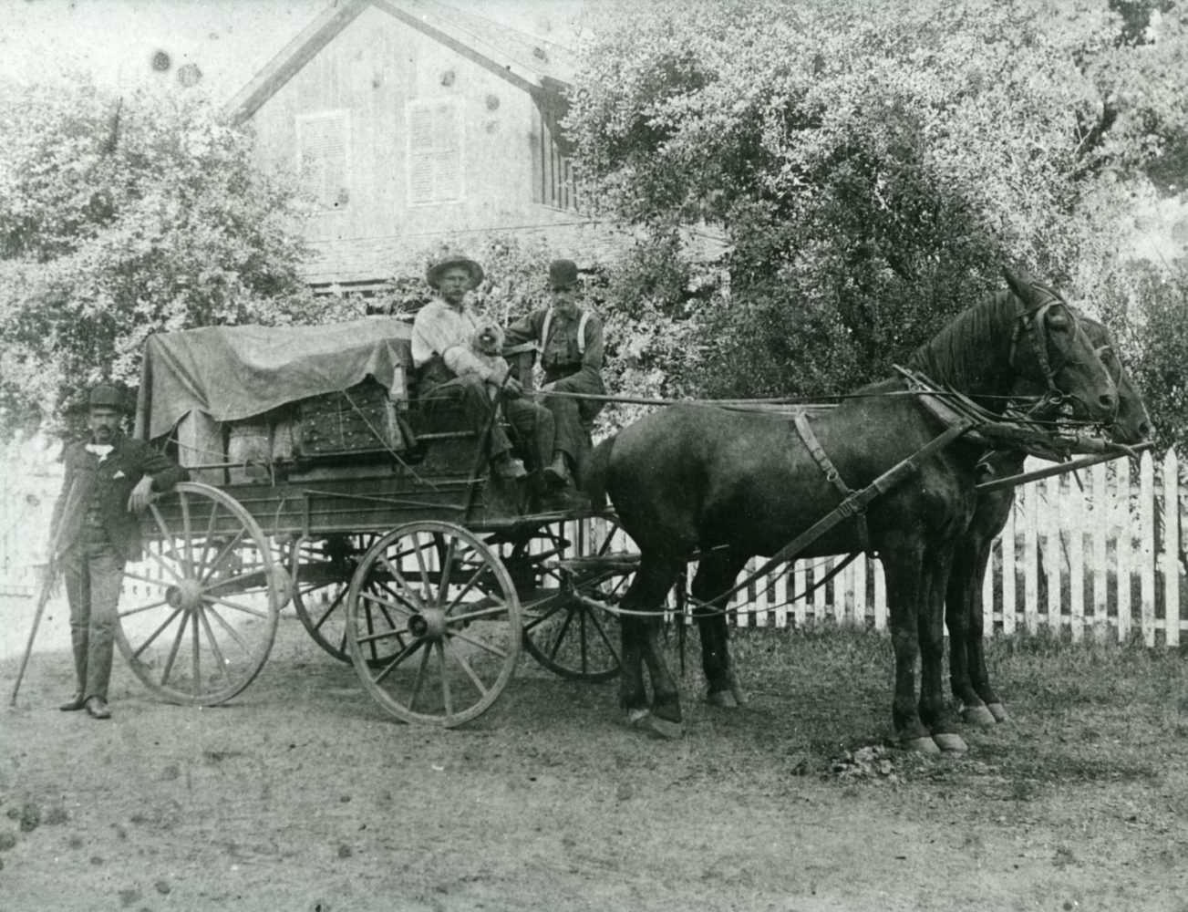 Men with supplies on horse and carriage outside the Woodside Store