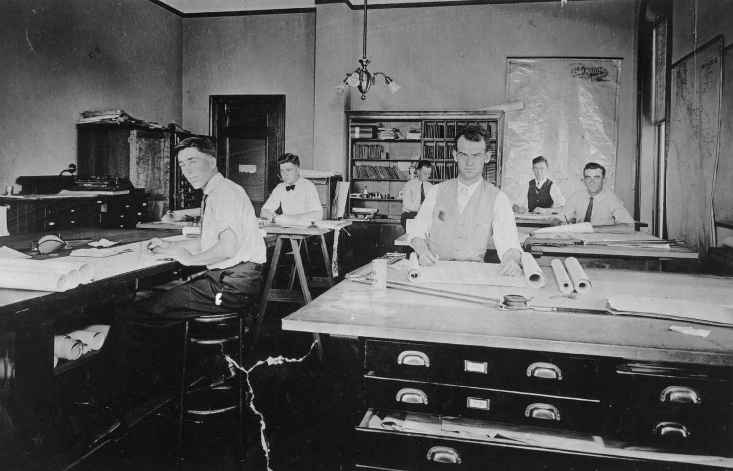 Archival photo of the drafting room of the county engineers office in San Mateo county 1915