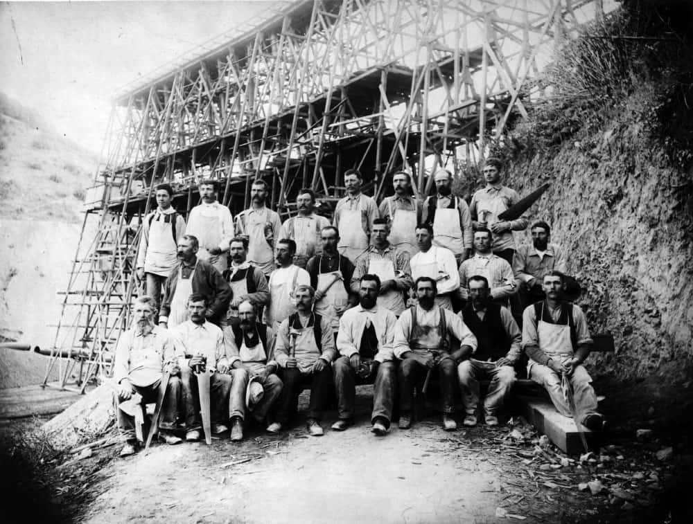 Archival photo of Crystal Spring Dam workers from Natures Bounty exhibit at San Mateo County History Museum