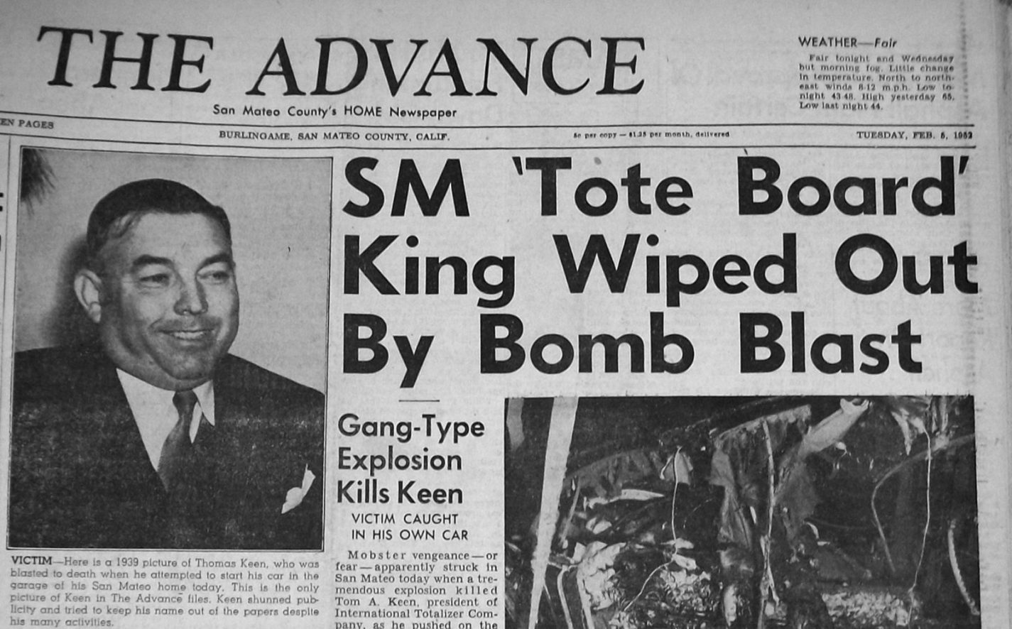Burlingame Advance newspaper cover from Feb 5, 1952 with headline SM 'Tote Board' King Wiped Out by Bomb Blast