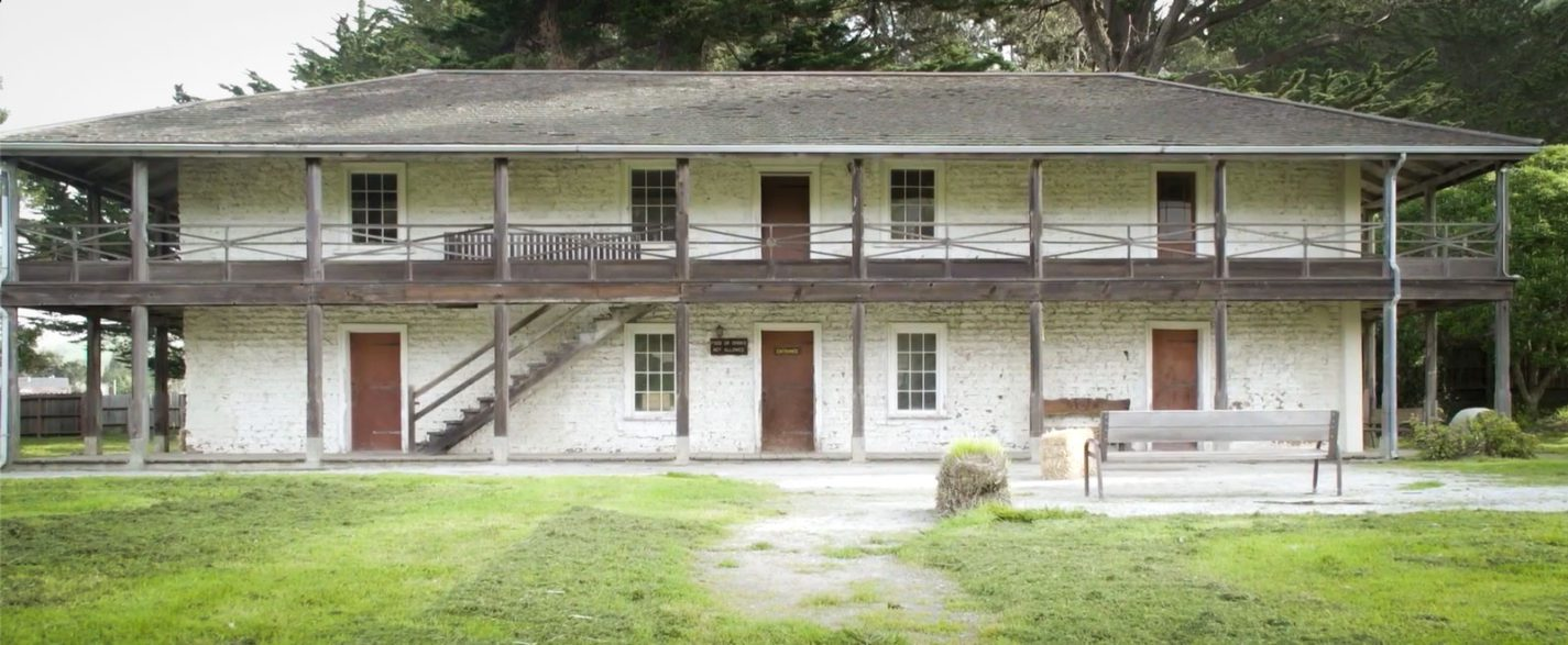 Exterior of the Sanchez Adobe in Pescadero