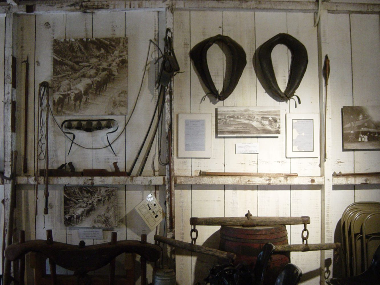 A display of antique tack and plows at the Woodside Store