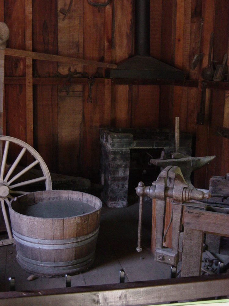 Historical display of a workshop at the Woodside Store