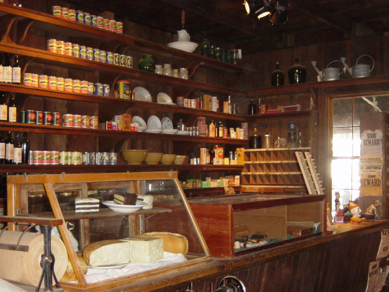 Counter with canned goods displayed at the Woodside Store