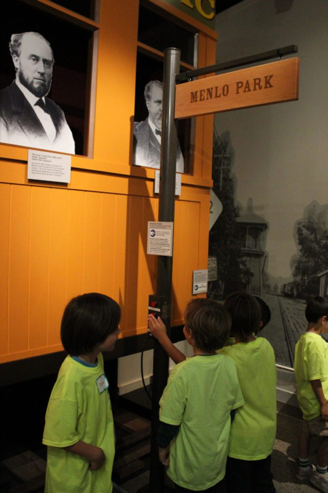 Students view the exhibit Journey to Work as part of Getting from Here to There school program at the San Mateo County History Museum