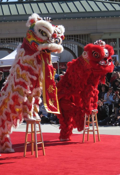 Chinese Lunar New Year lions perform at the San Mateo County History Museum