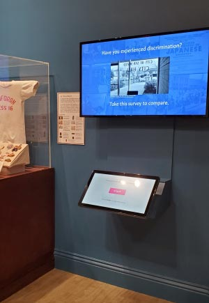 Interactive discrimination kiosk at the Land of Opportunity exhibit at the San Mateo County History Museum