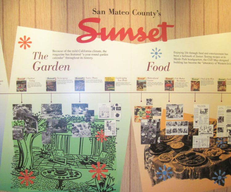 Display on Sunset Magazine in the Living the California Dream exhibit at the San Mateo County History Museum