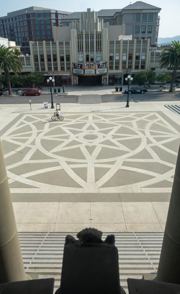 View of square in front of the San Mateo County History Museum from the Mavericks exhibit