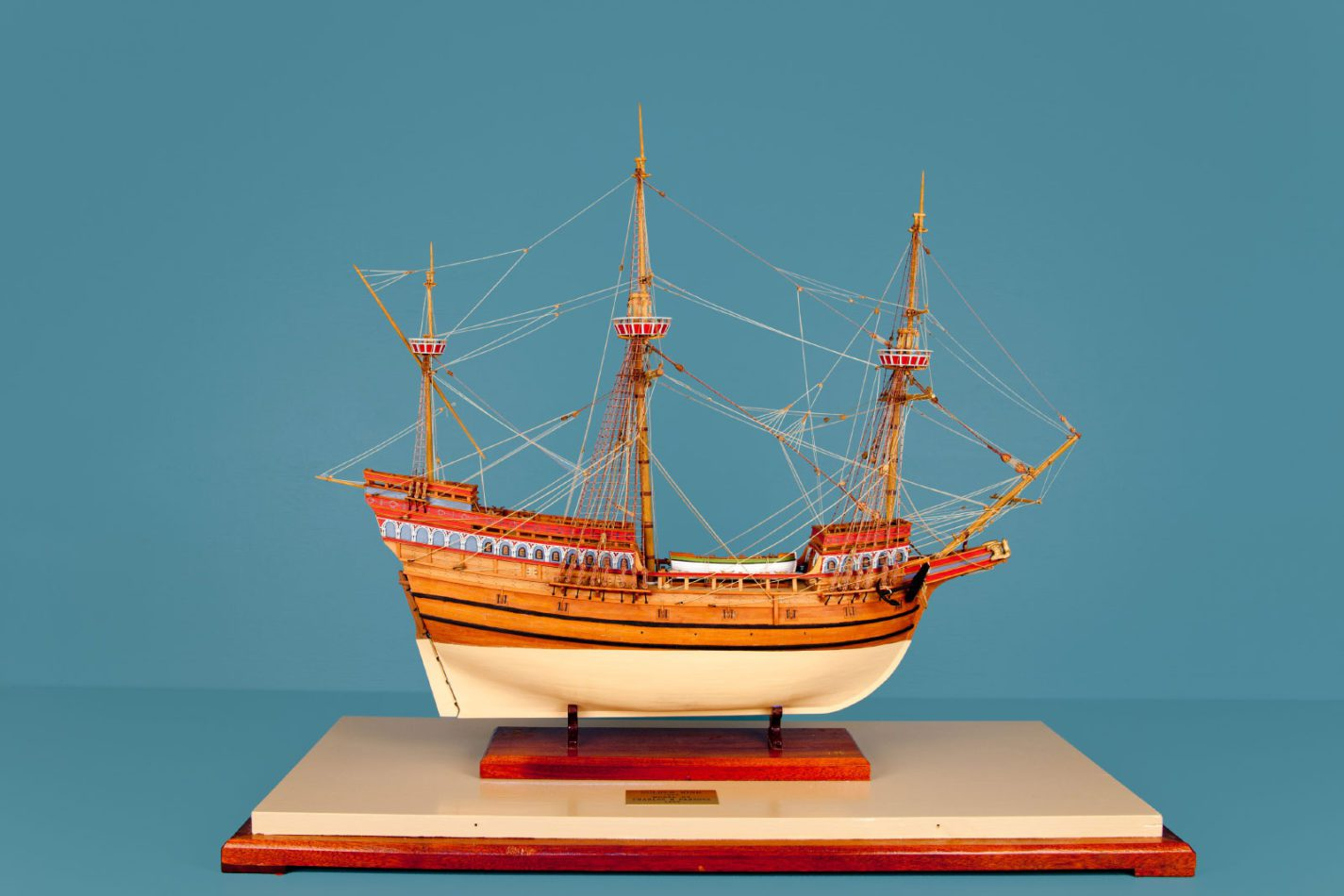 Golden Hind model ship at the Ships of the World exhibit at San Mateo County History Museum