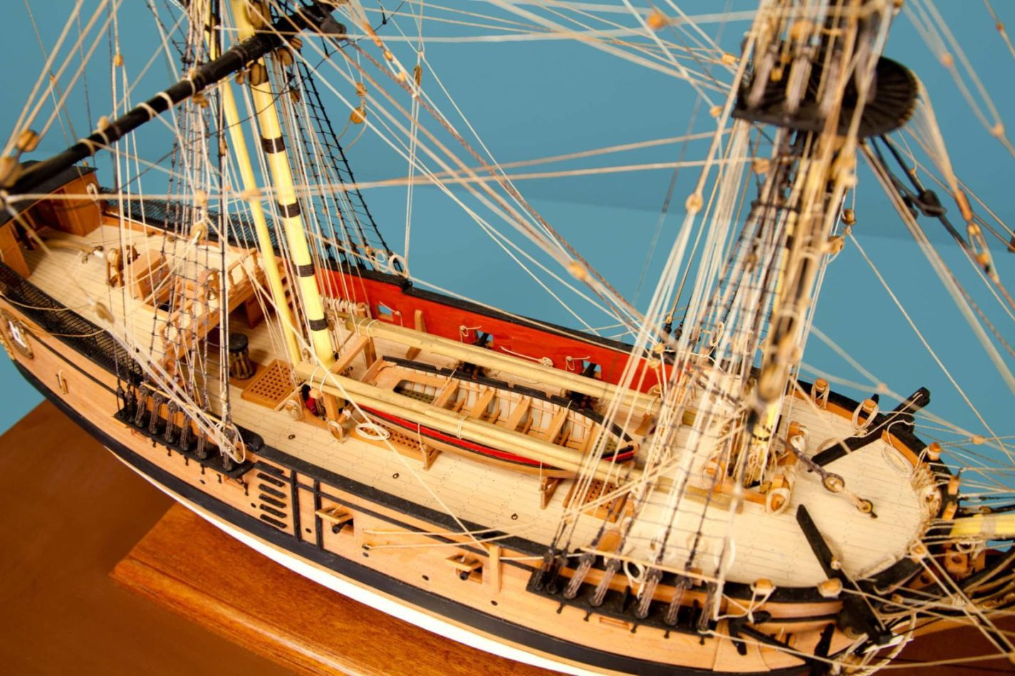 Detail of the San Carlos model ship at the Ships of the World exhibit at San Mateo County History Museum