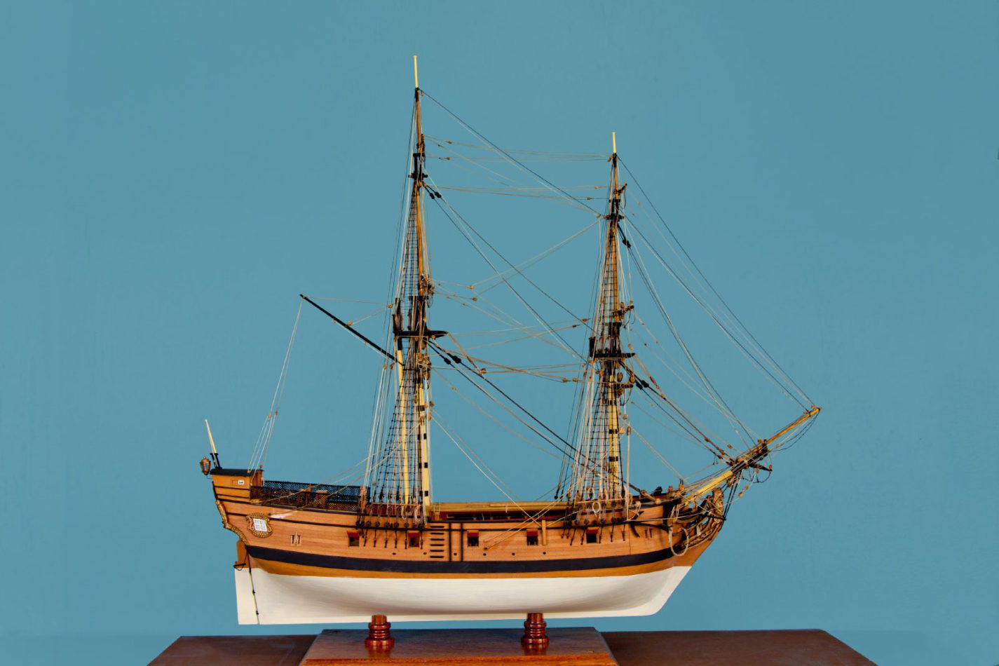San Carlos model ship at the Ships of the World exhibit at San Mateo County History Museum