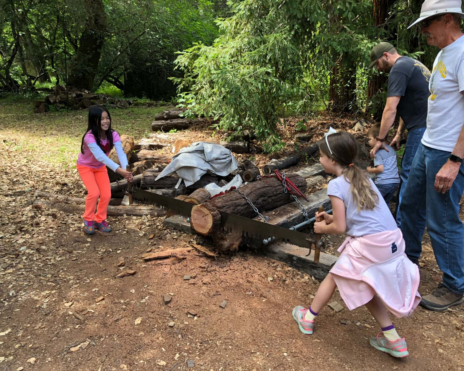 Two young girls saw a log with a two handled saw at Old Woodside Store Day