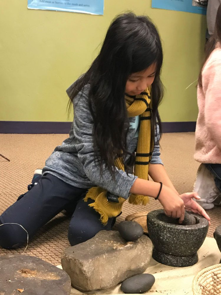 Young girl uses a mortar to ground acorns at Providing Plenty school program at the San Mateo County History Museum