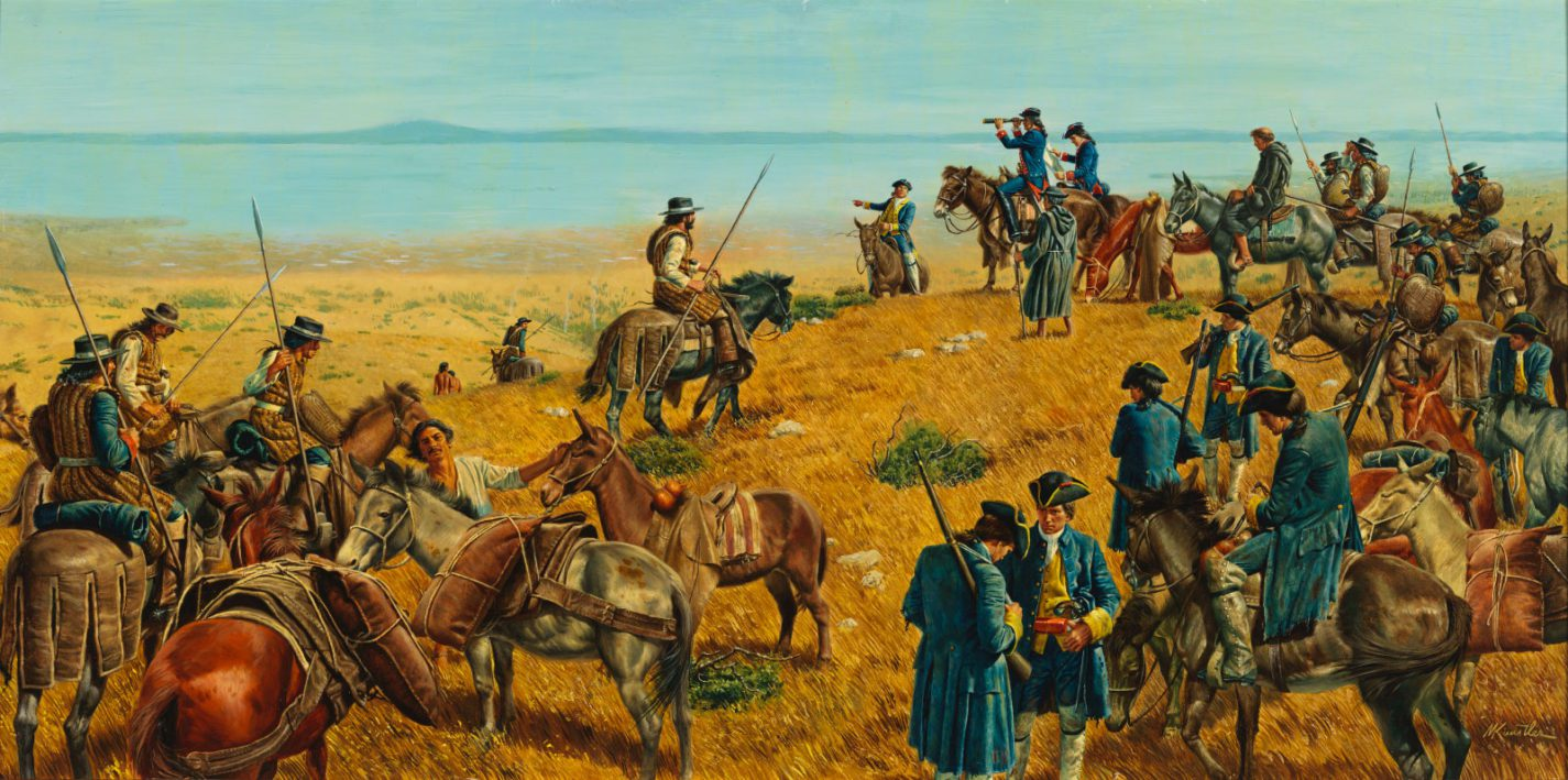 Painting of the Spanish Discovery of San Francisco Bay by Morton Kunstler
