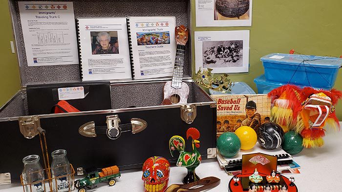 Immigrants Traveling Trunk for school programs created by the San Mateo County History Museum