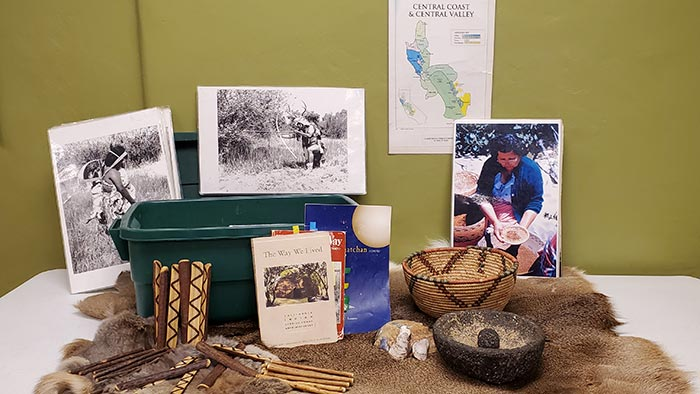 Ohlone Traveling Trunk for school programs created by the San Mateo County History Museum