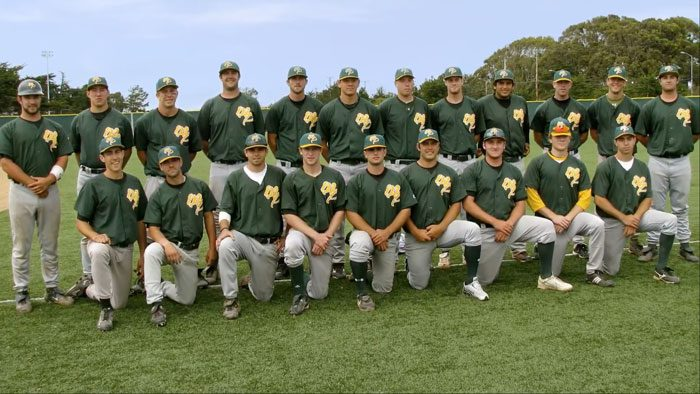 Lineup photo of the Menlo Park Legends semi-pro baseball team