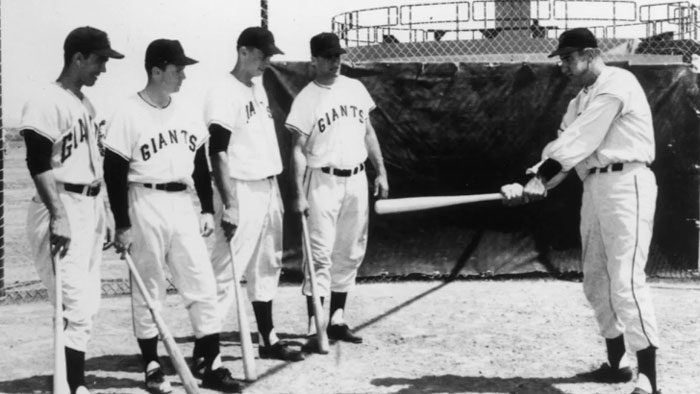 Archival photo of San Francisco Giants practicing batting