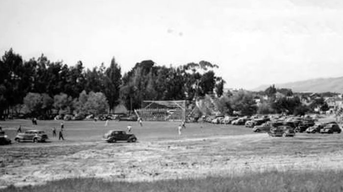 1941 photo of San Bruno Park with a baseball game being held