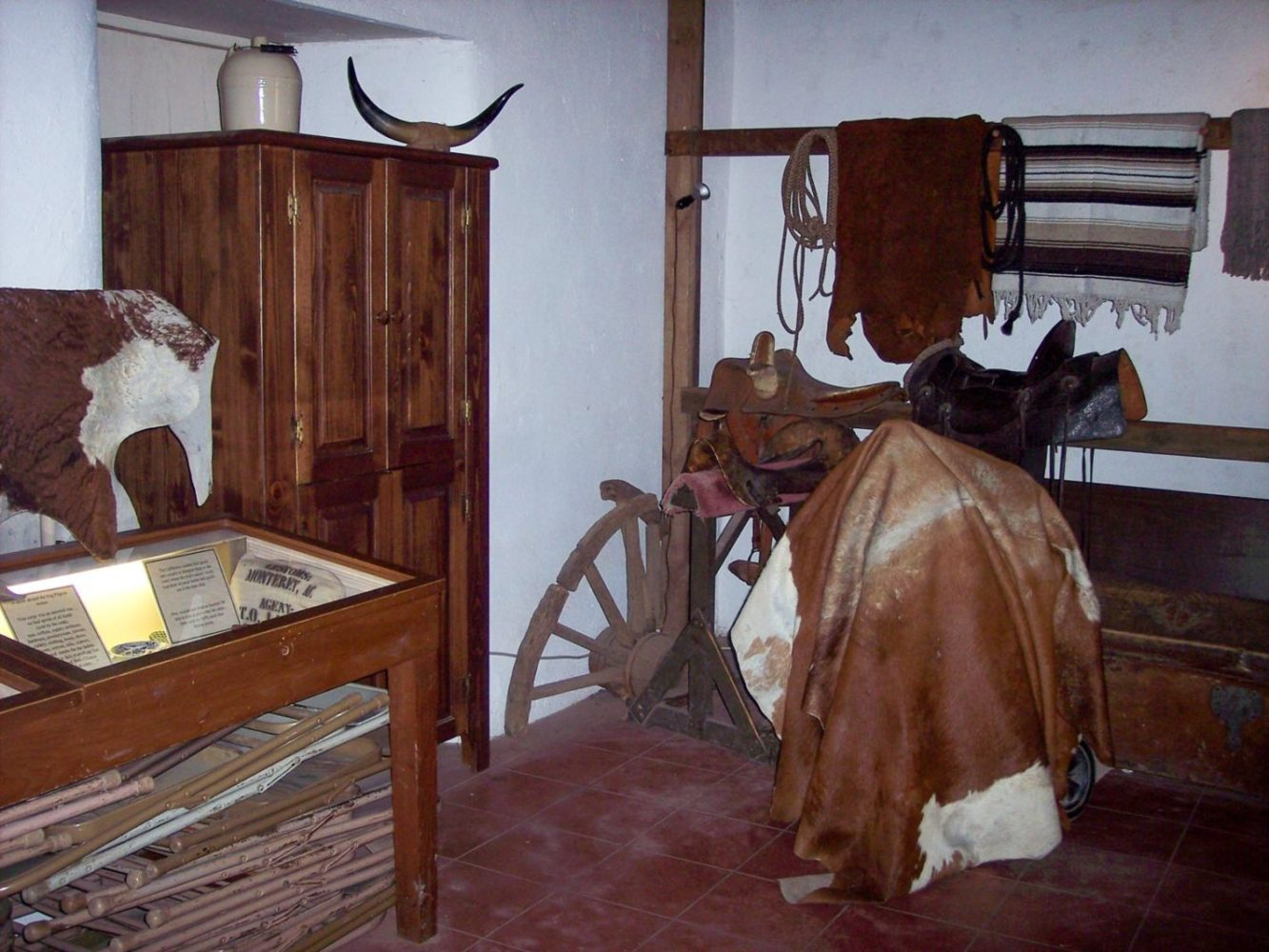 Interior of Sanchez Adobe in Woodside with period tools from 1800s