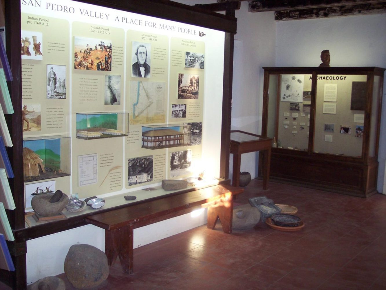 History display case at Sanchez Adobe in Woodside