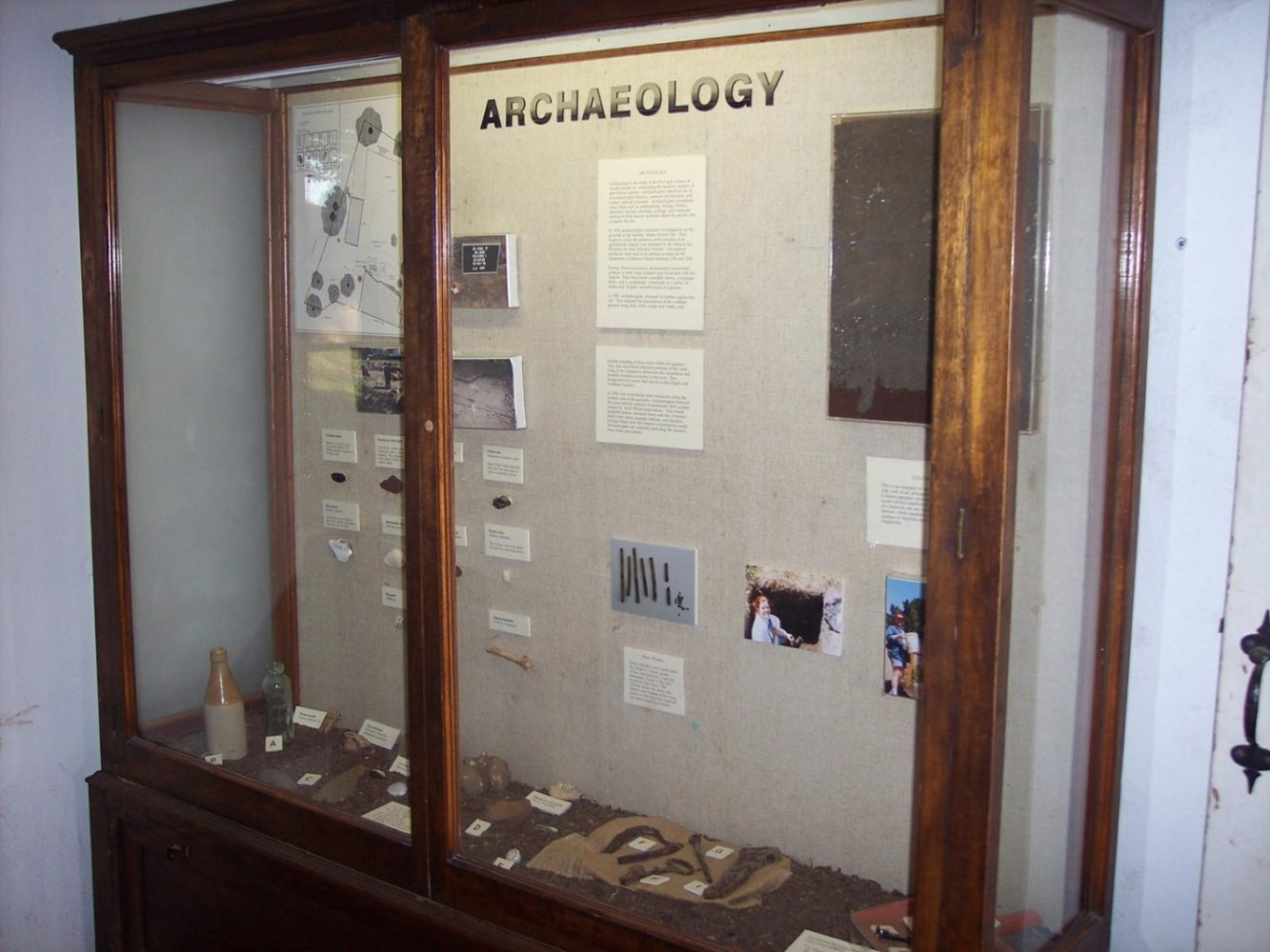 Archaeology display case at Sanchez Adobe in Woodside