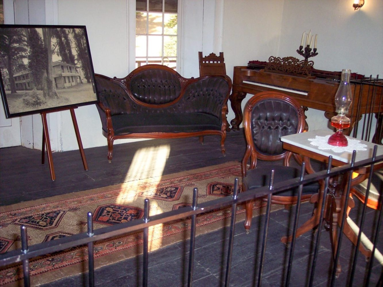 Interior of Sanchez Adobe in Woodside with period furniture from 1800s
