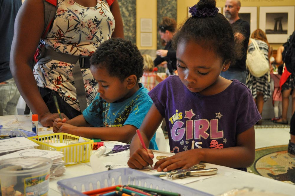 Kids making crafts at the San Mateo County History Museum