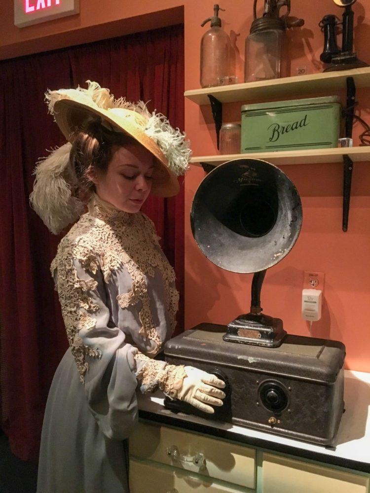 A woman dressed in Victorian dress at San Mateo County History Museum