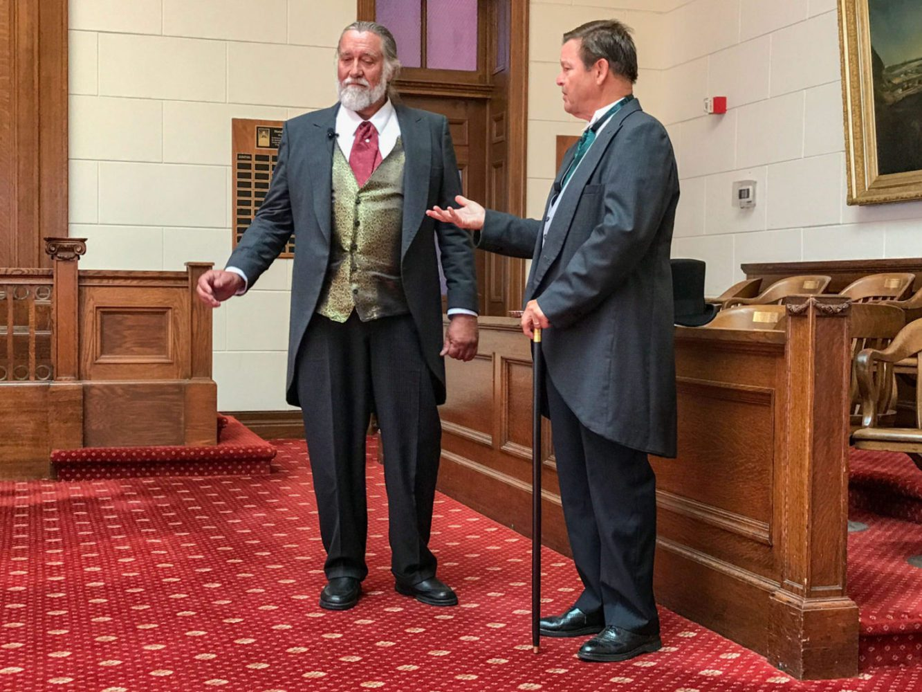 Two men dressed in Victorian dress at San Mateo County History Museum