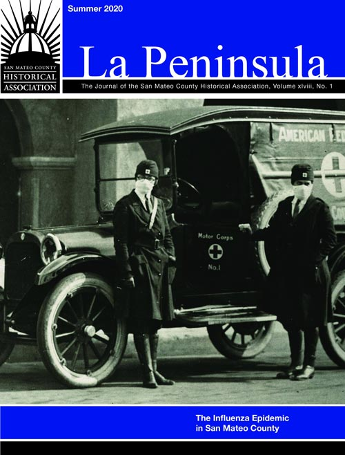 Cover of La Peninsula showing volunteers in the Motor Corps during the 1918 Influenza Epidemic