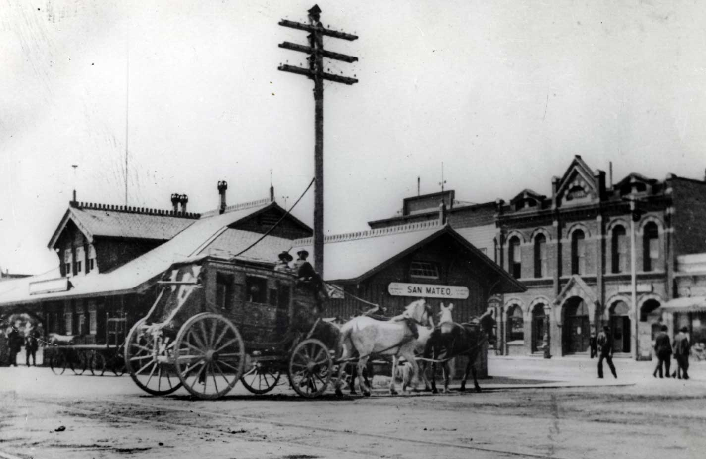 Archival photo of Stagecoach at San Mateo Train Station