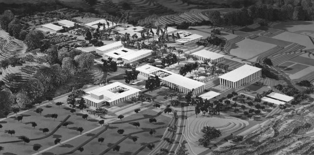 Architectural model of the site plan of College Heights campus at the College of San Mateo dated 1962