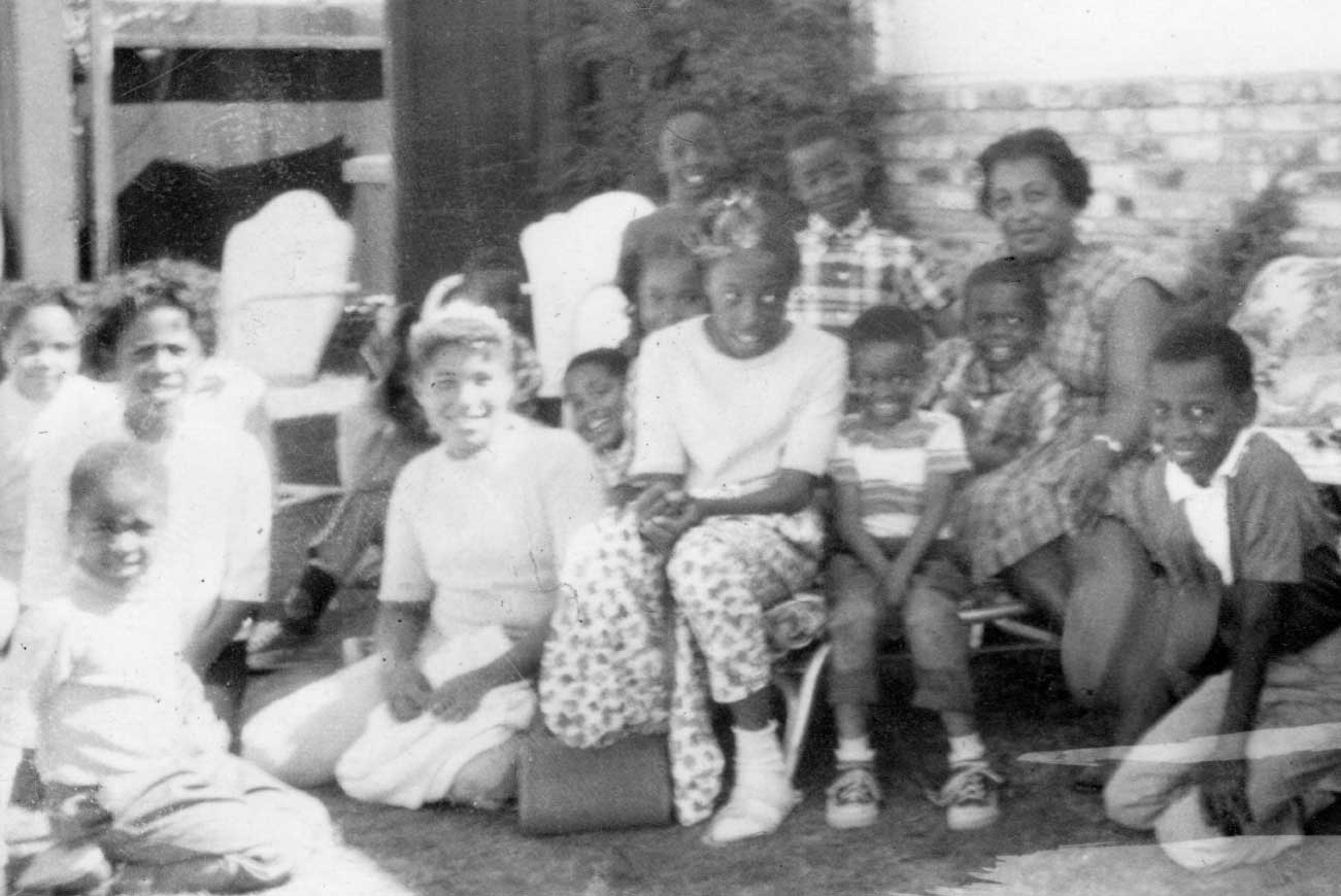 Group photo of Gladys Norton Daycare on Humboldt Street in the 1950s