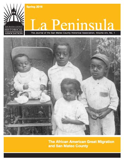 Cover of La Peninsula showing an African American family during the great migration in San Mateo County