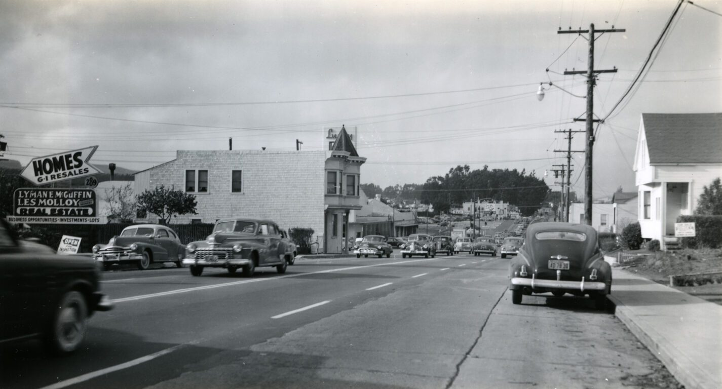 El Camino Real with cars in the early 1950s