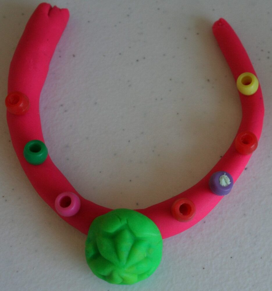 Image of Play-doh jewelry for cargo craft