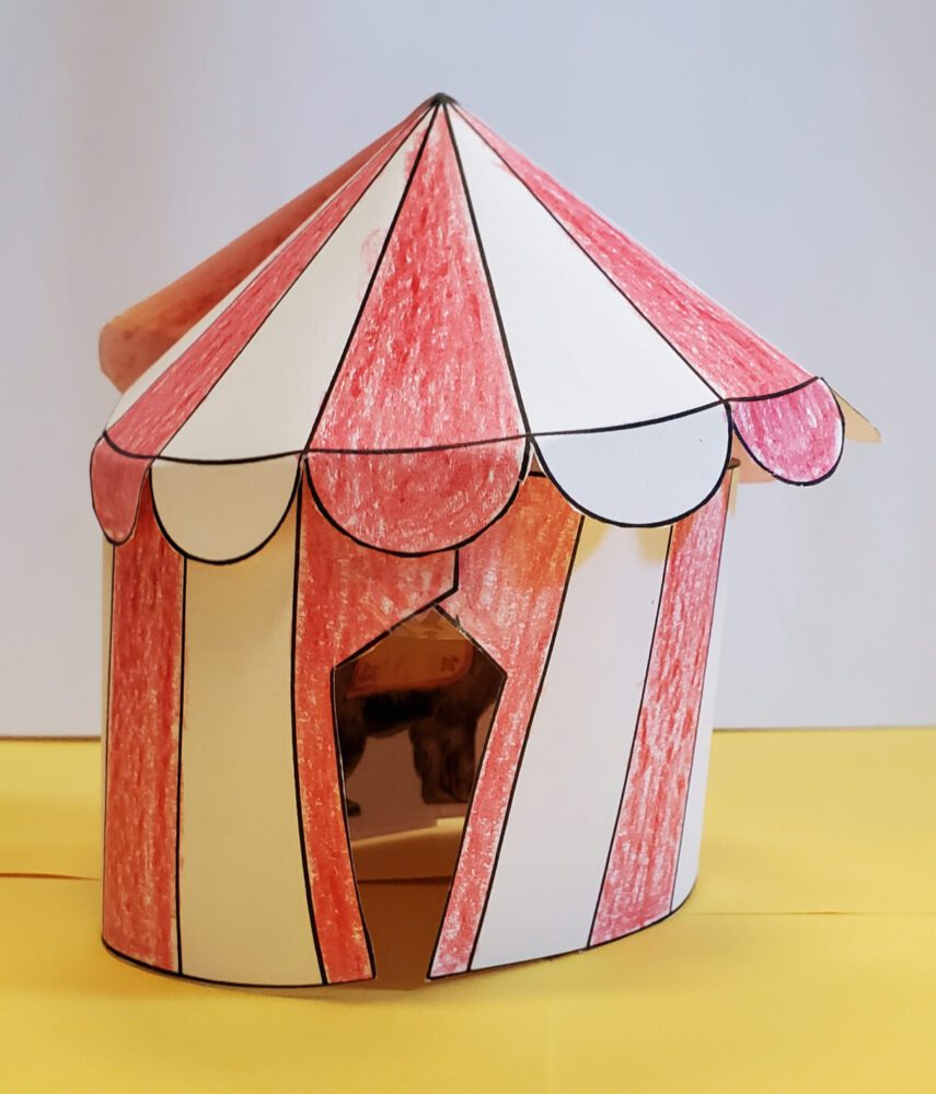 red and white paper circus tent